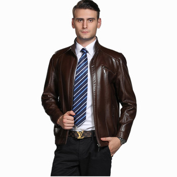 New 2018 Spring Autumn New Men's Leather Jacket Pure Color Leather coat Men Fashion Baseball Tie Locomotive Coats