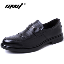 MVVT Fashion Print Men Formal Shoes Genuine Leather Dress Shoes British Gentleman Brogue Shoes Slip-On Men Oxfords Shoes