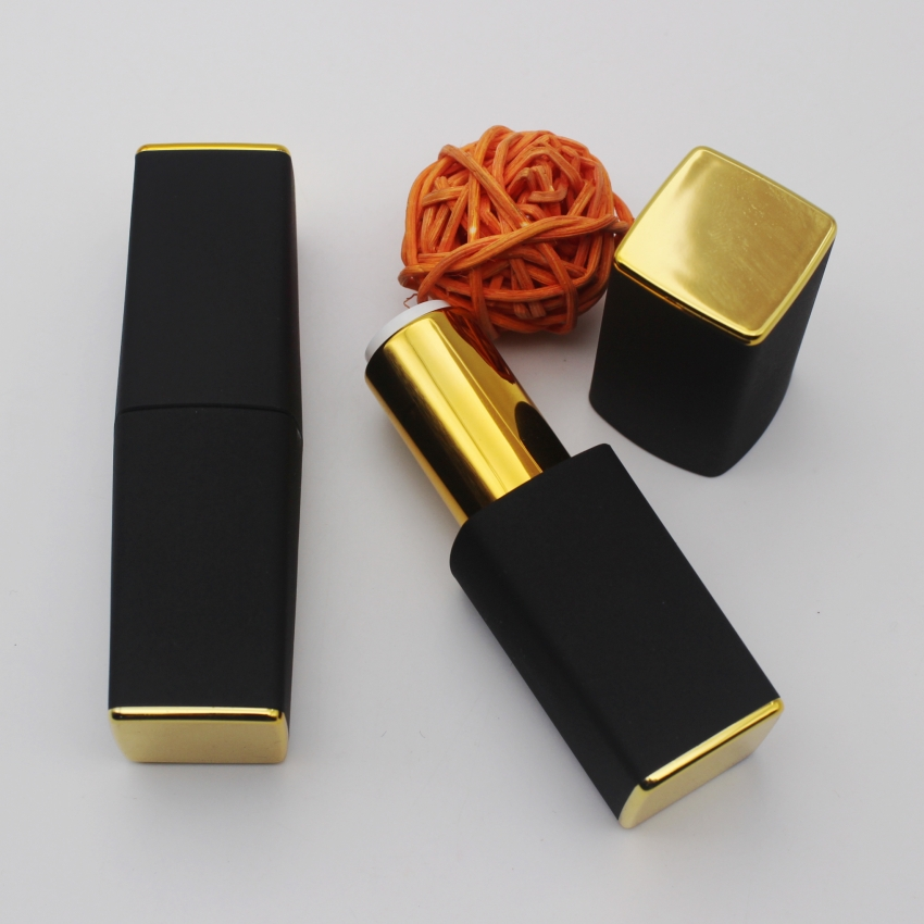 10/30/PCS High-Grade Square Frosted Matte Black Lipstick Tube,Empty Lipstick Packaging Bottle With Gold On Top And Bottom high quality lipstick tube 12 1mm square metal diy empty coffee purple pink travel lipstick tube wholesale makeup tool packaging