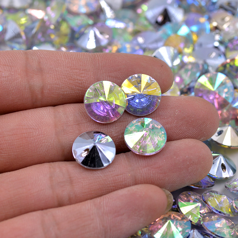 Junao 13mm Clear Rhinestones Buttons Sew On Round Acrylic Button Point Crystal Stones For Clothes Shirt Decoration Accessory Home & Garden