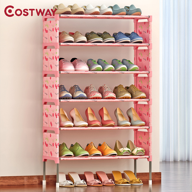 COSTWAY Non-woven 6 Tier Shoes Rack Shoe Cabinets Stand Shelf Shoes Organizer Living Room Bedroom Storage Furniture W0199