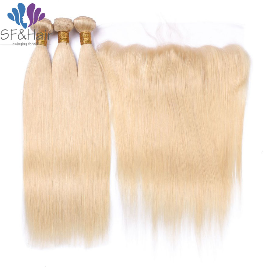Blonde Lace Frontal With Bundles 613 Free/Middle/Three Part 13×4 Brazilian Straight Blonde Human Lace Front Ear To Ear Closure