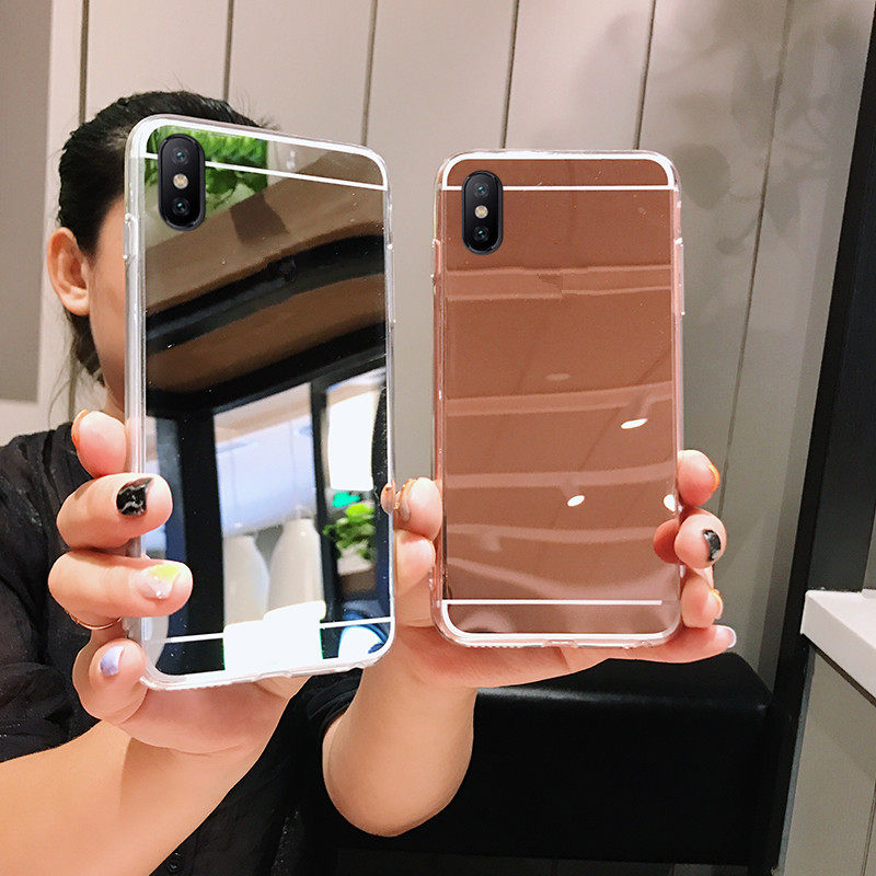 Simple plating shockproof mirror Soft Case for iphone X XS Max XR 11 pro max Cover For iphone 6 6s 6Plus 8 8plus ip7 ip8 coque