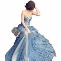 New Fashion Sweetheart Court Train Long Blue Dress Beading Crystal A Line Woman Long Dress Elegant Evening Tulle Caftan Dress