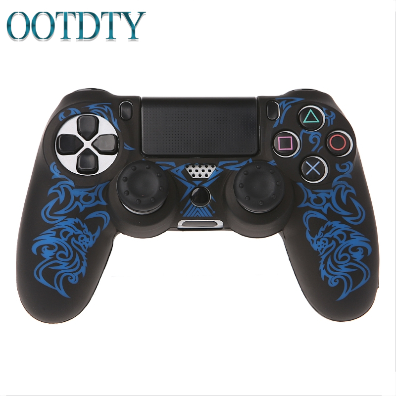 For Playstation 4 <font><b>PS4</b></font> Slim Gamepad Protect Camouflage Camo Dragon Silicone Gel Rubber Soft sleeve Skin Grip Cover <font><b>Case</b></font>+2 Caps image