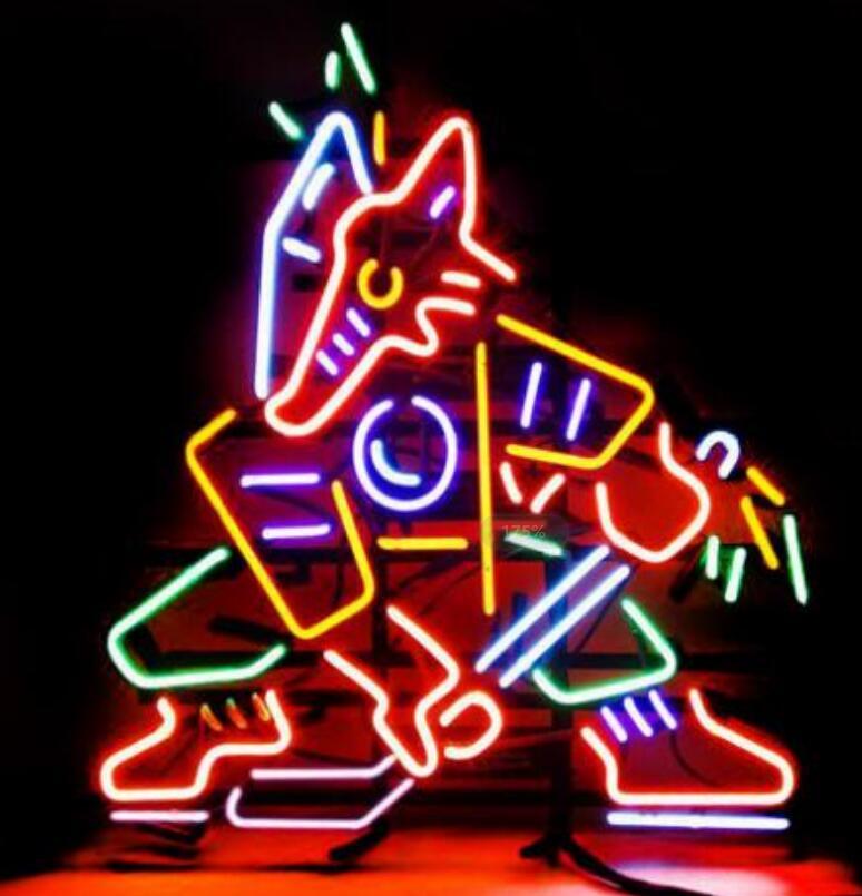 Custom Fox Hockey Vintage Glass Neon Light Sign Beer Bar