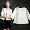 Europe 2015 autumn new women's coat and temperament heavy nail bead seven point sleeve jacket tide