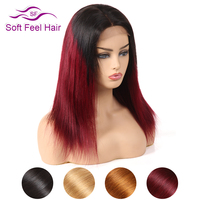Soft Feel Hair 1B/Burgundy Ombre Brazilian Straight Wig Black Red Remy Ombre Lace Front Human Hair Wigs For Women Middle Part