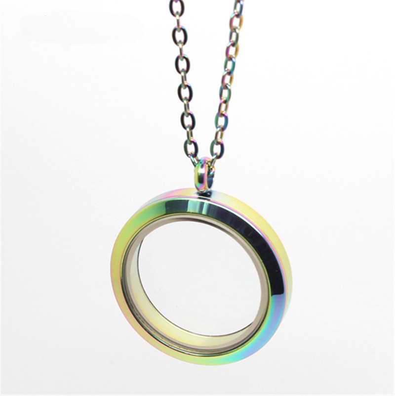 316L stainless steel 30mm rainbow screw round plain locket necklace floating charms glass memory locket pendant with 20 chain