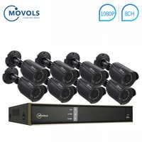 MOVOLS 1080P kit CCTV 8 Cámara 2mp juego de vigilancia impermeable al aire libre IR cámara de seguridad Video vigilancia sistema 8ch DVR Kits