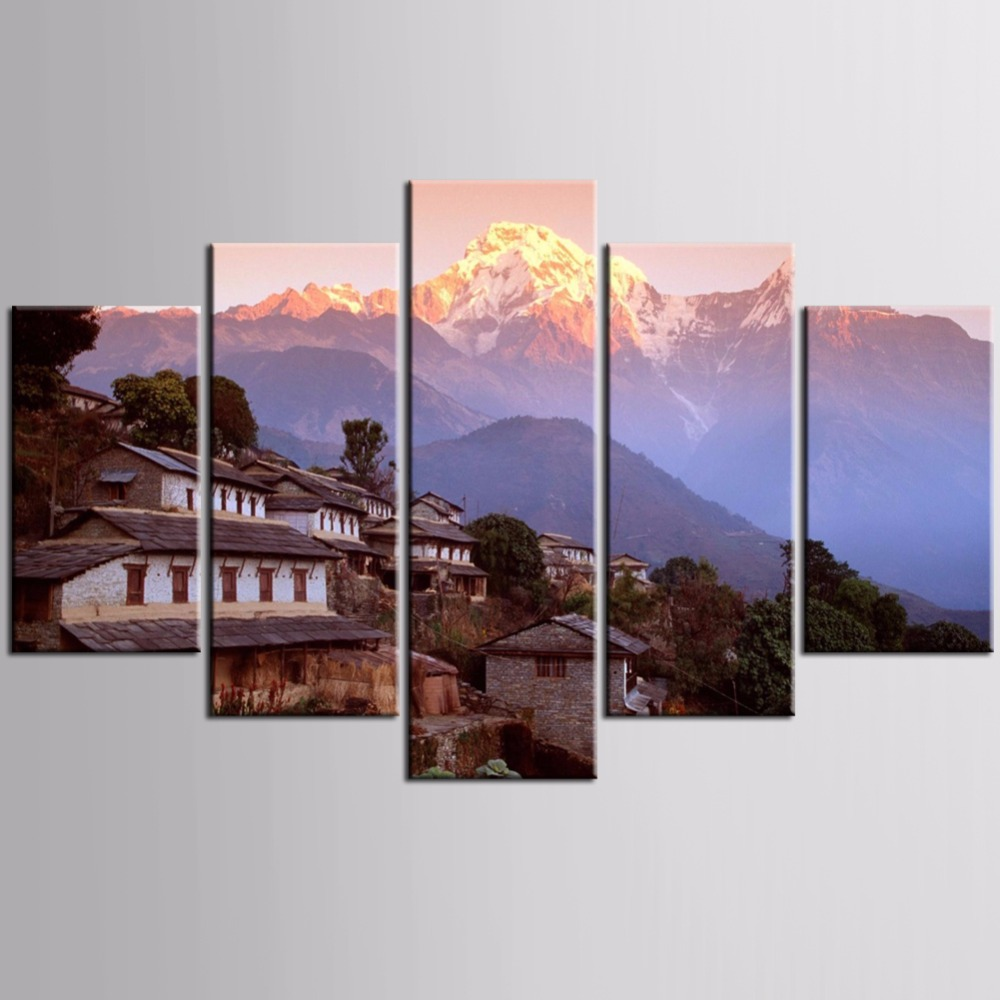 TOP Sale 5pieces / set of Volcano landscape series wall art for wall decorating home Decorative painting on canvas framed/