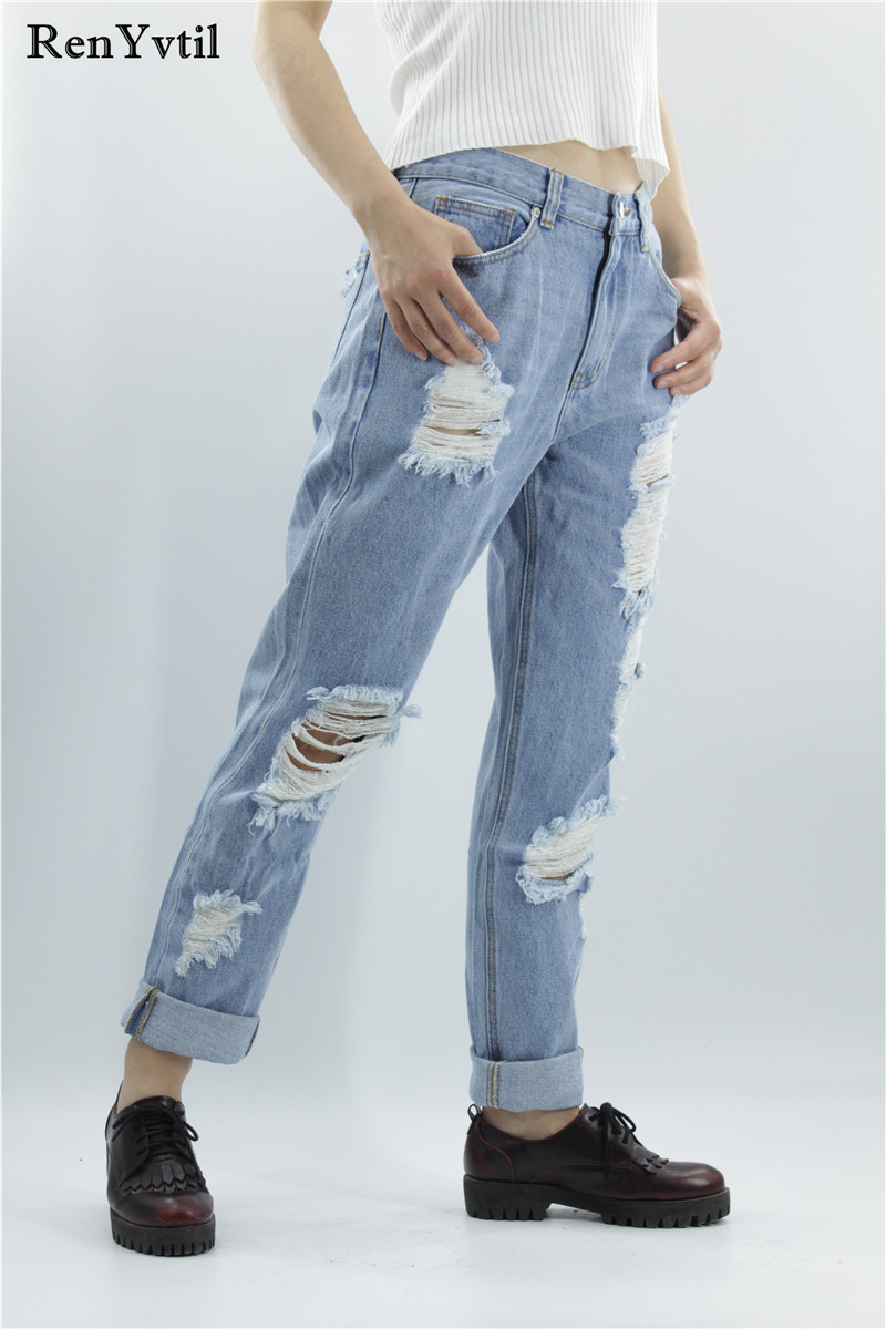 RenYvtil Women's Ripped Trousers Casual New Arrival Vogue Hole Blue Denim Pants for Ladies Straight Boyfriend Comfort Loose Jean new women girls casual vintage wash denim overall suspender jean trousers pants boyfriend style denim shorts frayed ripped hole