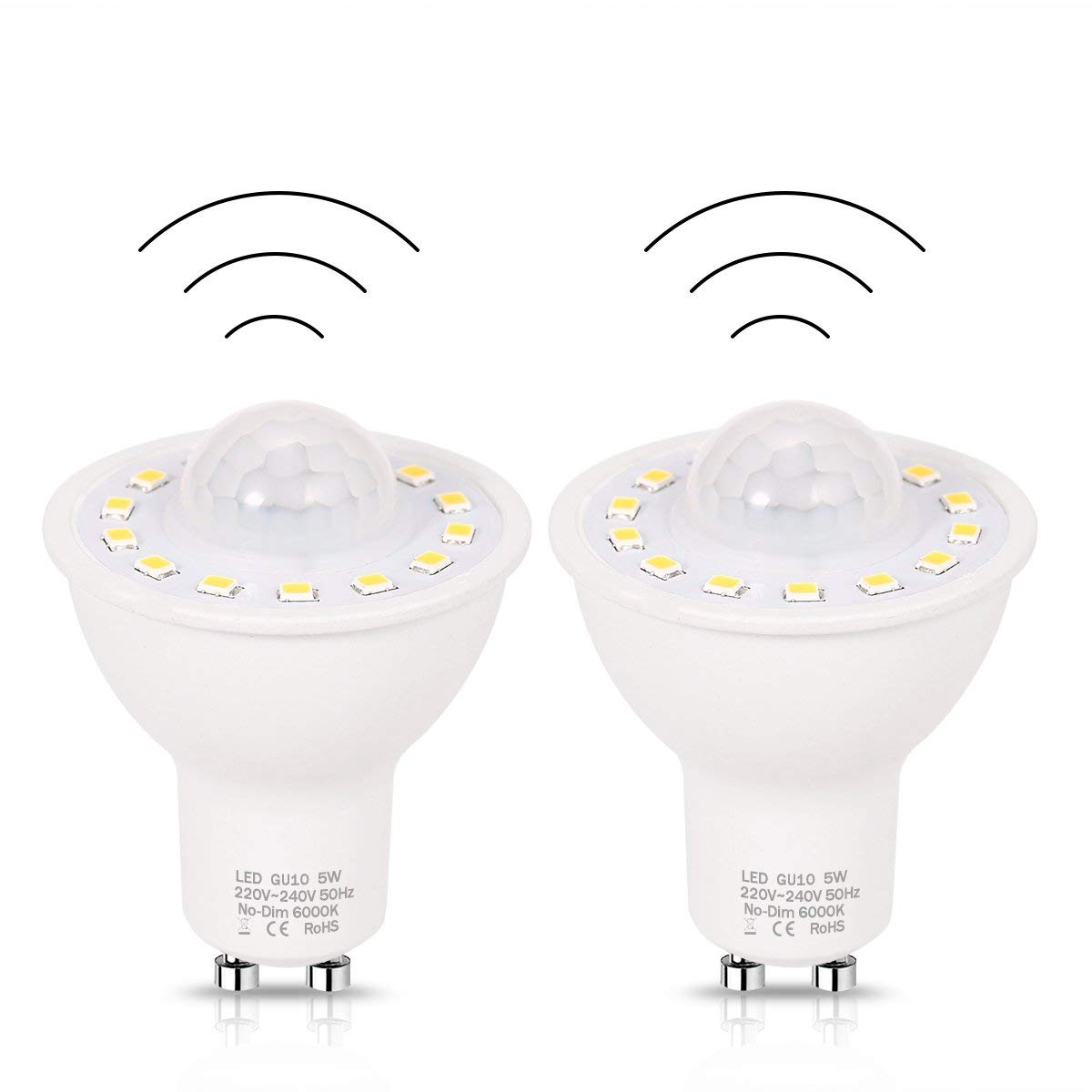 GU10 PIR Motion Sensor LED Lumière Ampoules 5 w, 50 w Équivalent 500lm Jour Blanc 6000 k pour Escaliers Garage Couloir Passerelle Hallway-2Pack