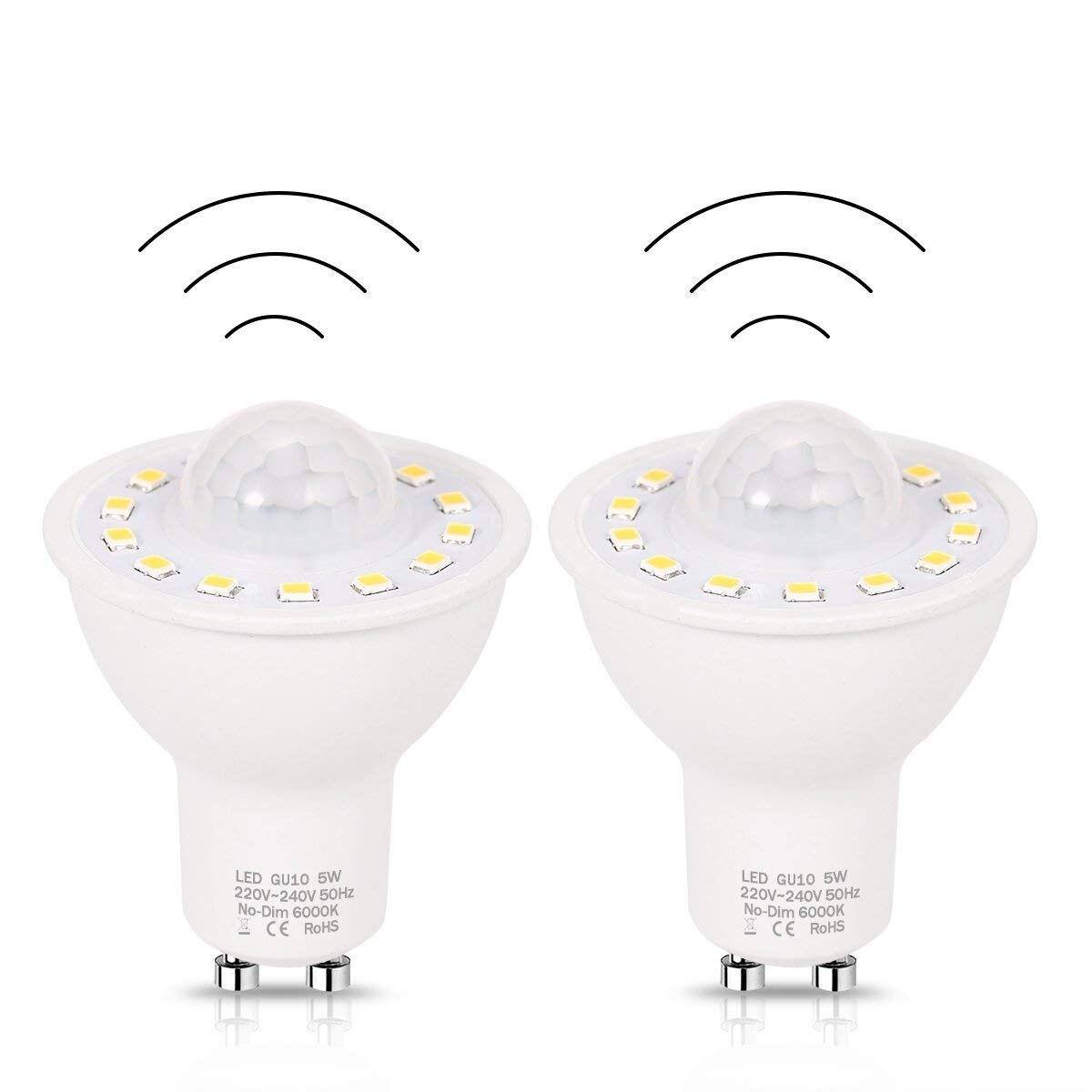 GU10 PIR Motion Sensor LED Glühbirnen 5 watt, 50 watt Äquivalent 500lm Tag Weiß 6000 karat für Treppen Garage Korridor Gehweg Hallway-2Pack