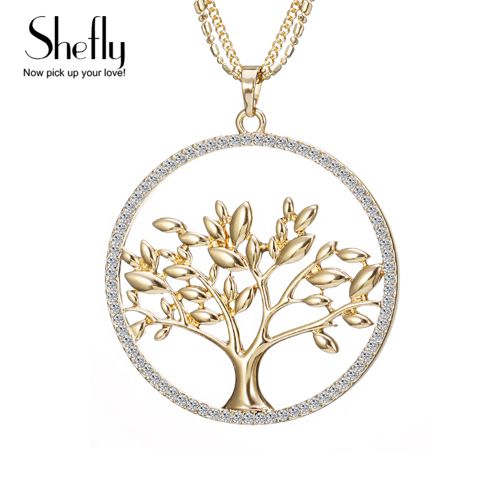 20e844fbb448 Árbol De La Vida de moda Largo Collar de Cadena de Múltiples Joyas de Oro  Rosa