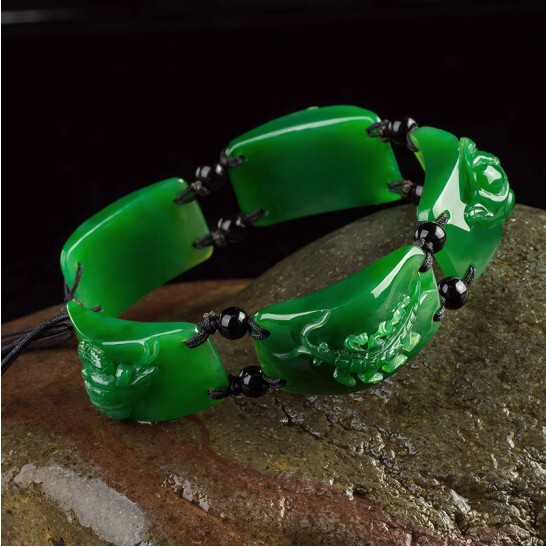 Wudu carved and tian yu men's bracelet with certificates/ Strand Bracelets     - title=