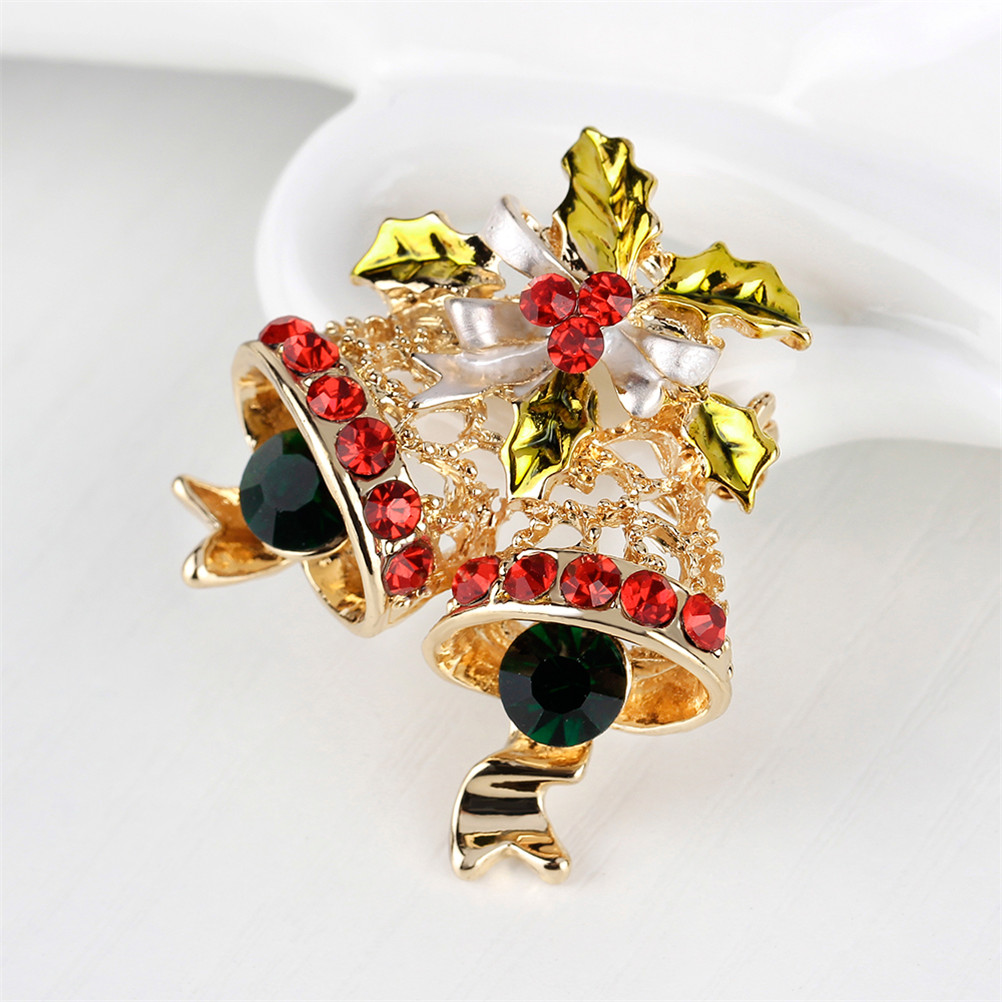 Aggressive Multicolor New Crystal Double Bells Fashion Christmas Bows Sleigh Bells Brooches Christmas Gifts Christmas Brooches For Women Rings