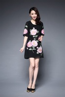 Meisili Womens Elegant Vintage Embroidered Dress Pinup Work Office Casual Party Slim Embroidery Dress
