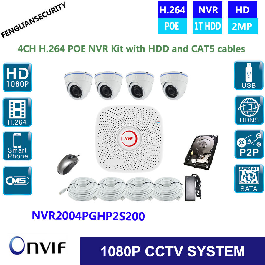 POE 4CH CCTV System 1080P H264 NVR IR Network Security POE dome Camera Video Surveillance System Kit With HDD ,CAT5 cable