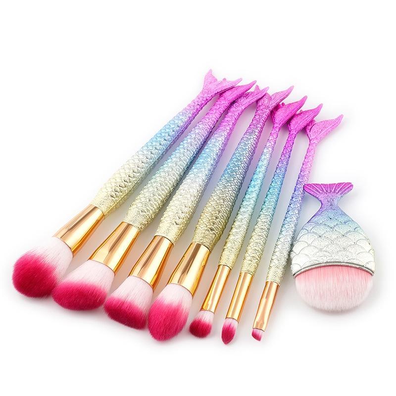 Focallure 8Pcs Makeup Cosmetic Multi Sizes Fish Shaped Powder Brushes Set 7 Mermaid Shape Brush 1