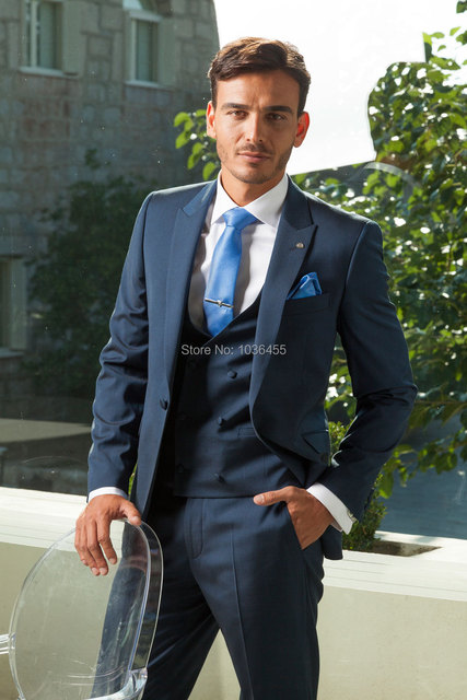 2015 men business suits Navy Blue one button Customized Wedding suit Groom Tuxedos Groomsman Suit Jacket+Pants+Tie+Vest