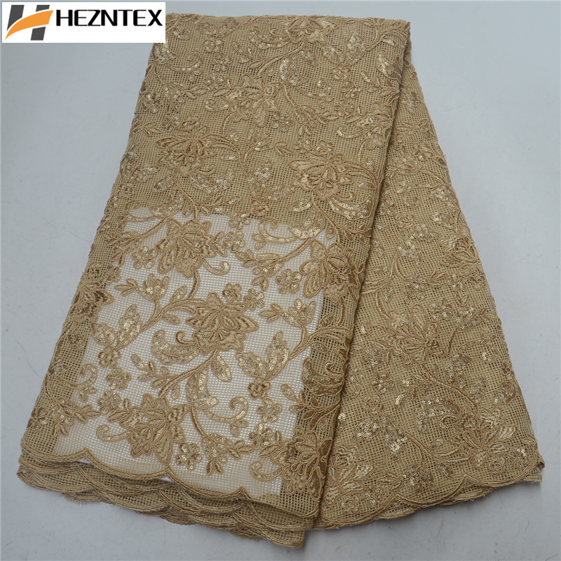 African Sequins Lace Fabric 2019 High Quality Orange Laces French Tulle Lace Swiss Voile Lace Fabrics For Wedding Dress PSA499-1