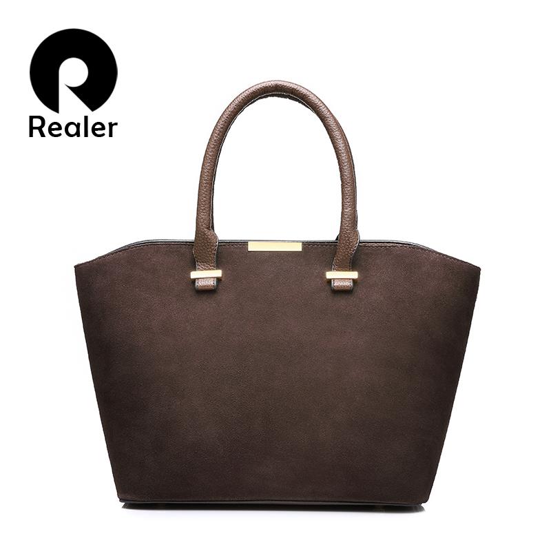 Prix pour REALER nouvelle mode femmes sac à main de haute qualité artificielle en cuir femmes fourre-tout sac gris/noir/rouge/bleu/brun 5 couleurs sac bandoulière