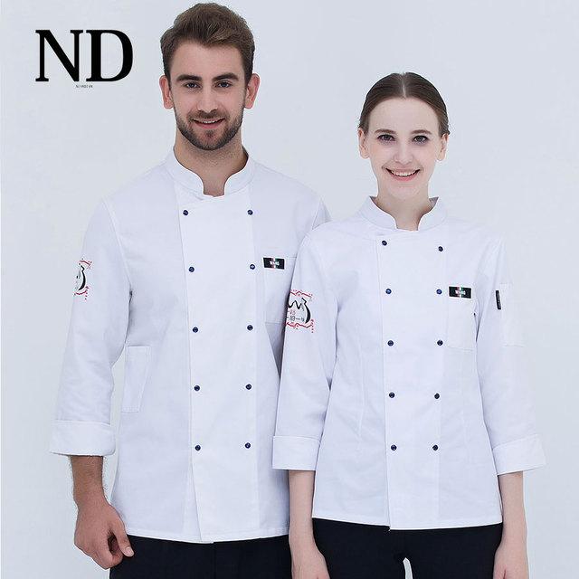Us 3671 8 Off2017 Jesień Długi Rękaw Odzież Męska Biały Chef Uniform życia Ubrania Ubrania Robocze Kuchni Catering Usługi W 2017 Jesień Długi