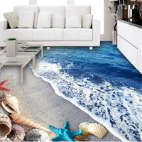 Custom Photo 3D Flooring Wallpapers Sea Water Ripples Wall Murals Bathroom Wall Papers Waterproof Vinyl Wallpaper