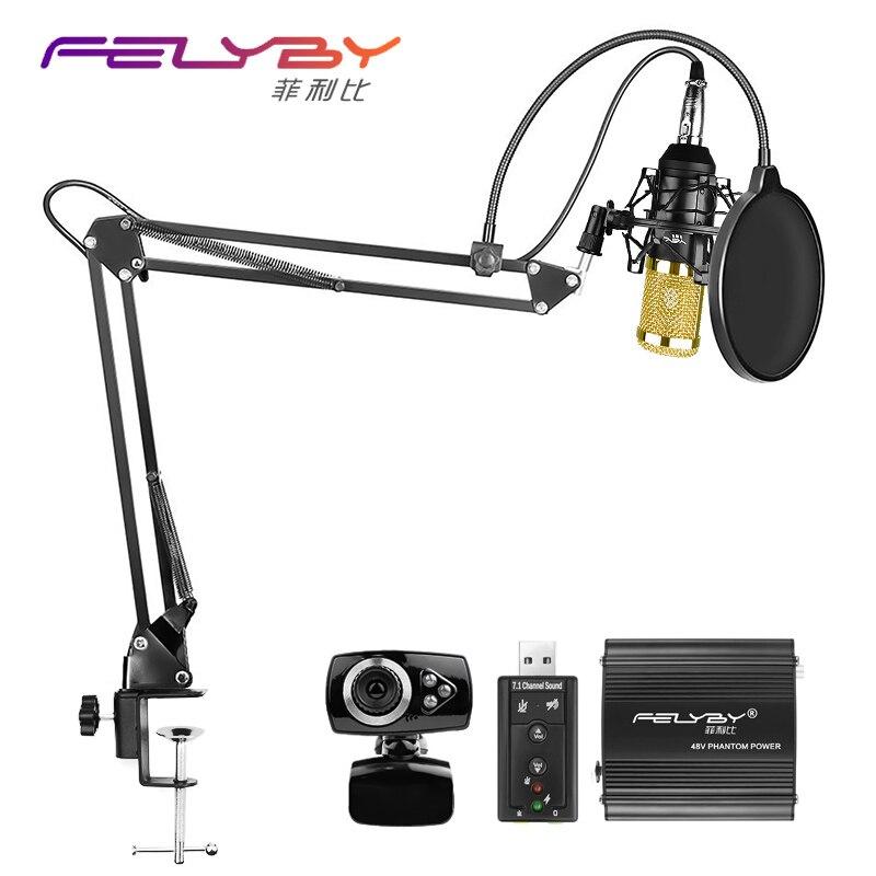 Professionelle Kondensatormikrofon BM-800 BM 800 Nieren Pro Audio Studio Gesangsaufnahmen Mikrofon 48 v phantomspeisung Usb soundkarte