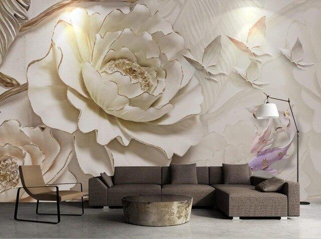 3D Papier Peint Peinture Murale Relief Stéréoscopique Fleur Papier Peint  Pour Les Murs 3D Peintures Murales