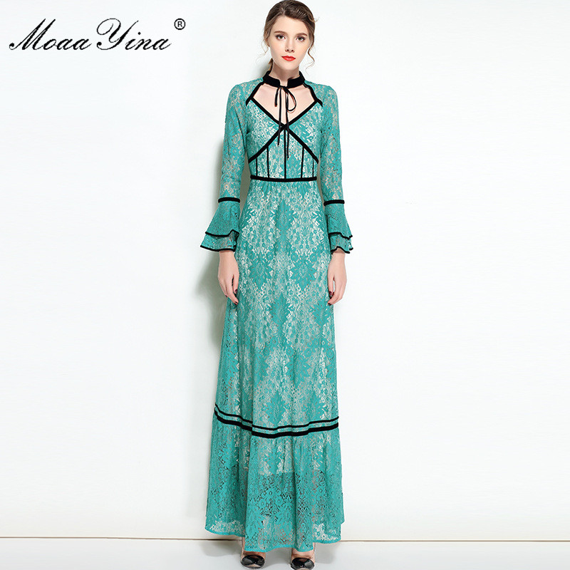 MoaaYina Designer Dress Spring Women Stand collar Velvet Butterfly sleeve Hollow Out Casual Holiday Party Noble Elegant Dress