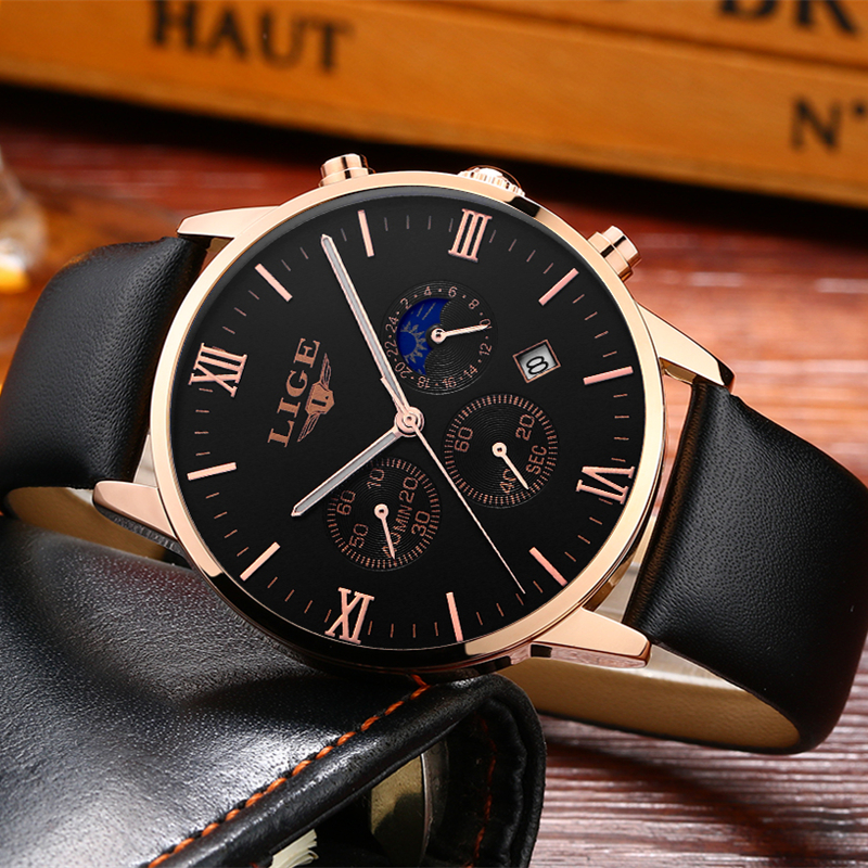 Fashion Men Quartz Watches LIGE Top Brand Luxury Mens Military Sports Chrongraph Clock Wristwatch Man watch Relogio Masculino