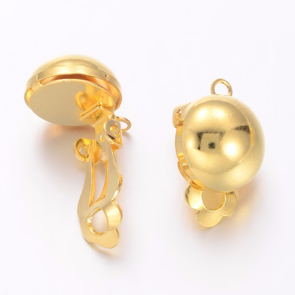 Golden Brass Clip-on Earring Components for Non-Pierced Ears, 19x12x11mm, Hole: 3mm