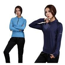 Фитнес футболка для женщин Спортивная с длинным рукавом и высоким
