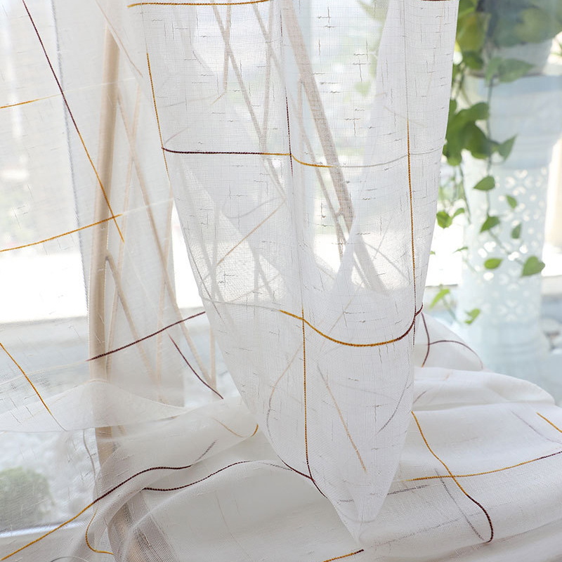 Plaid Gauze Modern Sheer Curtains Bedroom Balcony Living Room Versatile Color Lattice Window Screen Flax Fabric Tulle Fashion