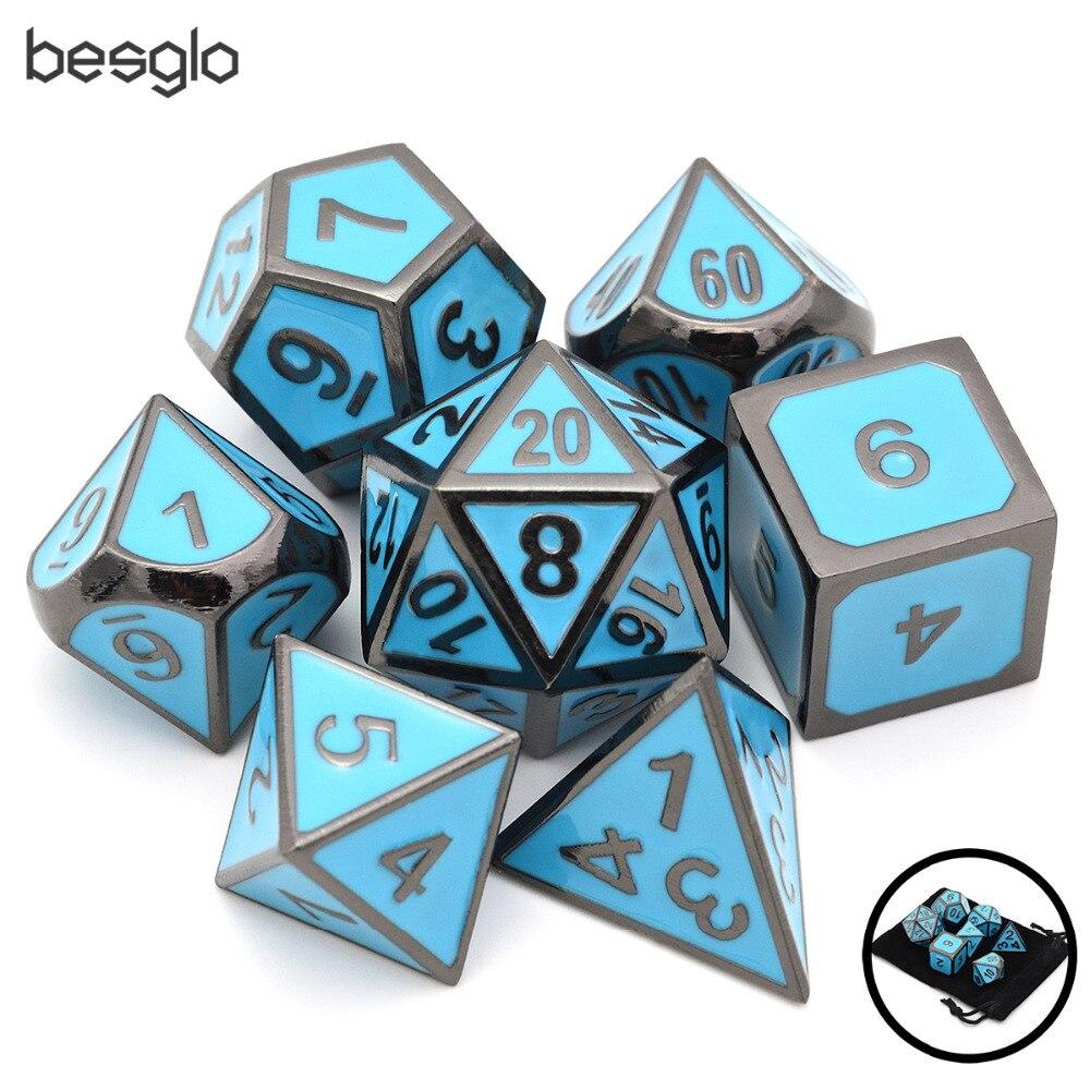 Dungeons and Dragons Dice Azul do Esmalte Do Metal pçs/set 7 com Cordão Bolsa D4 D6 D8 D10 (0-9, 00-90) D12 D20