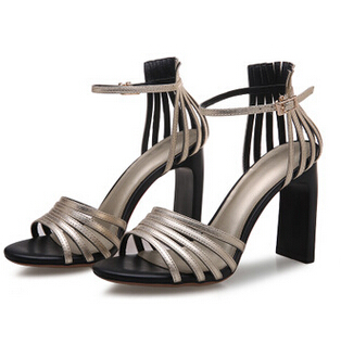 Sexy high quality brand new coming womens summer cut-outs sandals shoes block heels peep open toe woman's snadals shoe xtf028 zorssar brand 2017 high quality sexy summer womens sandals peep toe high heels ladies wedding party shoes plus size 34 43