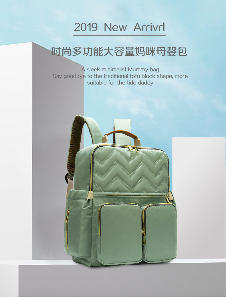 2019 New Baby Diaper Bag Interface Large Capacity Waterproof Nappy Bag Kits Mummy Maternity Travel Backpack Nursing (1)