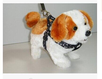 Precioso blanco y amarillo de peluche de juguete Eléctrico perro de juguete de s