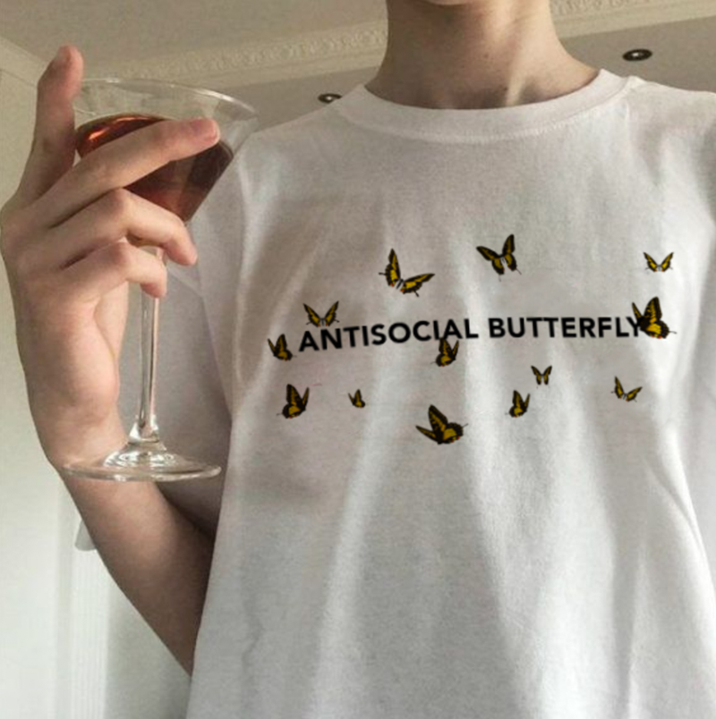 US $6 45 |Women's Fashion 90's Grunge Tumblr Aesthetic Tops & Tees Vintage  Antisocial Butterfly Shirt Alternative Hipster Indie T shirts-in T-Shirts