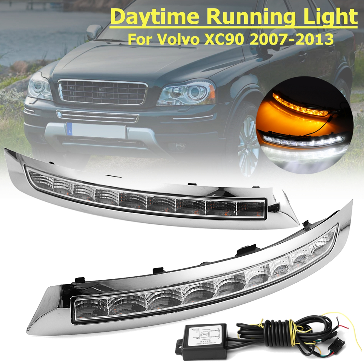 1 Pair LED Turning Signal fog lamp DRL Daytime Running Lights Lamp For Volvo XC90 2007 2008 2009 2010 2011 2012 2013 9 led car styling drl for chevrolet cruze 2009 2010 2011 2012 2013 daytime running lights with turning signal free shipping