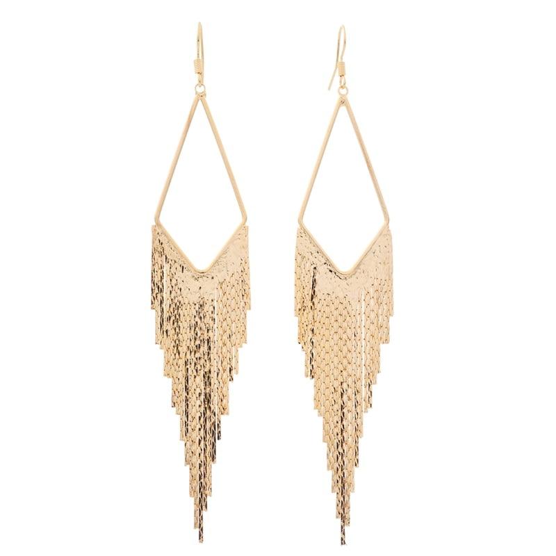Vintage geometryczne trójkąt frędzel długie kolczyki dla kobiet moda oświadczenie elegancki kolczyk biżuteria Bijoux