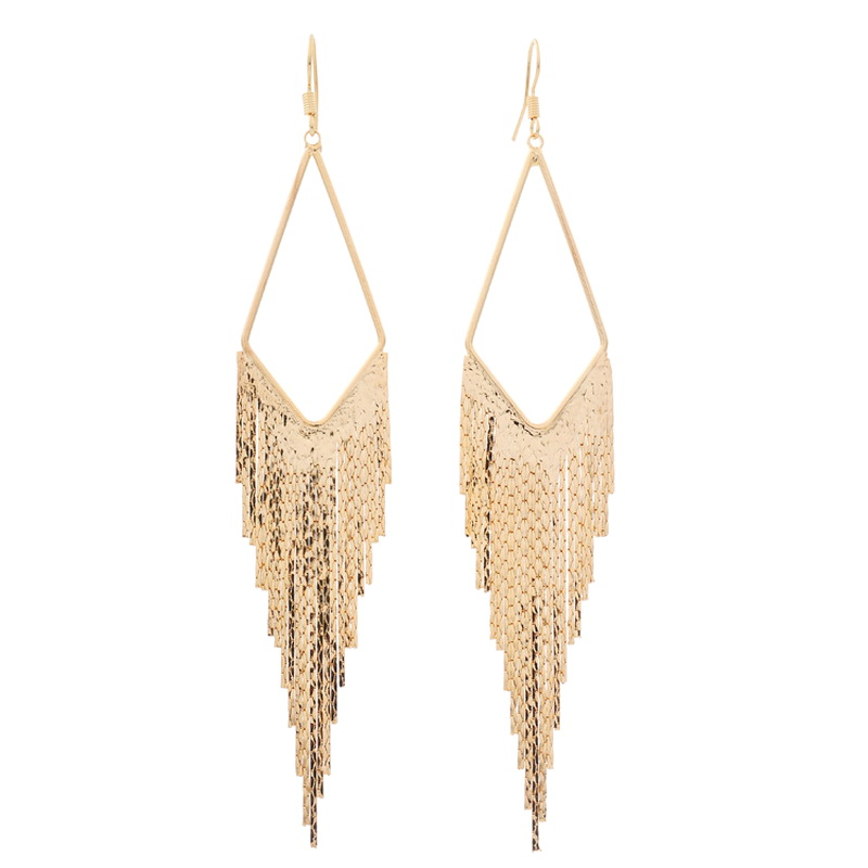 Anting-anting geometri segitiga anting-anting panjang vintaj untuk wanita Kenyataan fesyen perhiasan anting-anting elegan bijoux