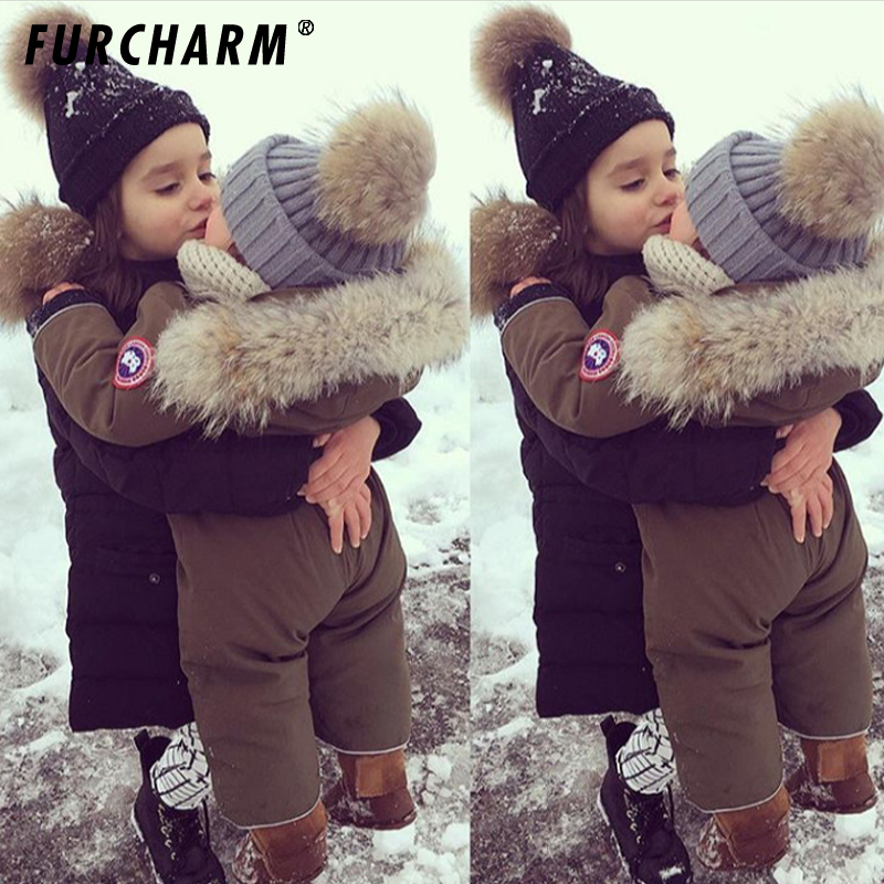 Baby Boys Girls Beanie Hats Fashion Children Winter 100 Real Fur pom pom Beanies Cap Natural