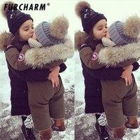 Neonati maschi Femmine Beanie Cappelli Moda Bambini Inverno 100% Reale Fur pom pom Berretti Berretto Cappello di Pelliccia Naturale Per I Bambini bambini