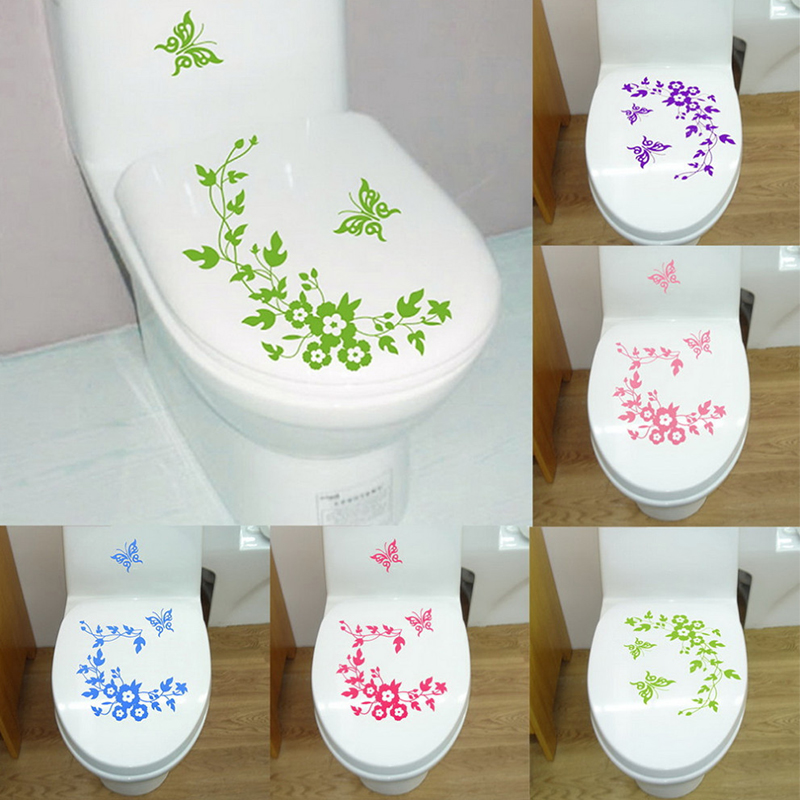 1pc Waterproof Removable Toilet Lid Sticker Butterfly Flower Rattan Toilet Seat Cover Wall Sticking Poster Decorative Stickers toilet seat