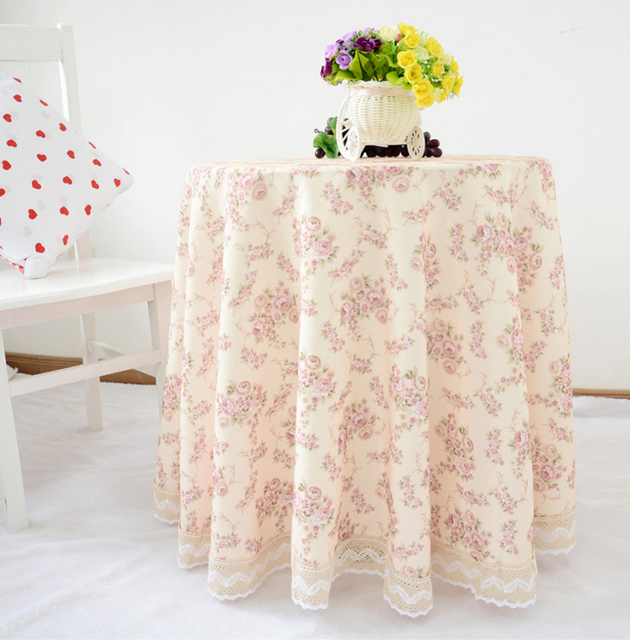 2016 Hot Home Round Tablecloth Sweet Flowers Print Wedding Table Cloth Desk Covering Side Tables Cover Ne Zc023