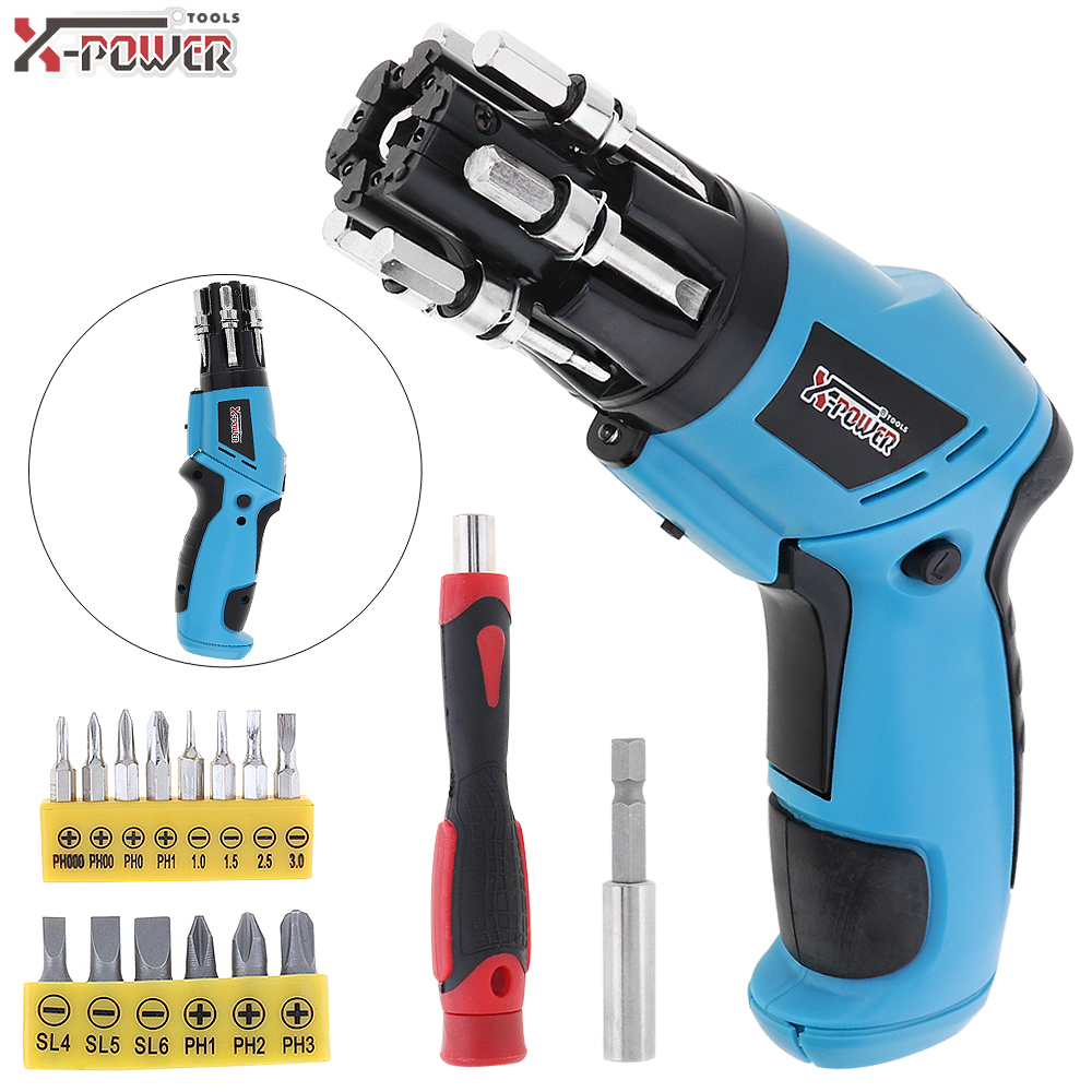 Mini 6V Battery Operated Cordless Electric Screwdriver with LED Work Light and Folded Handle for Household Maintenance
