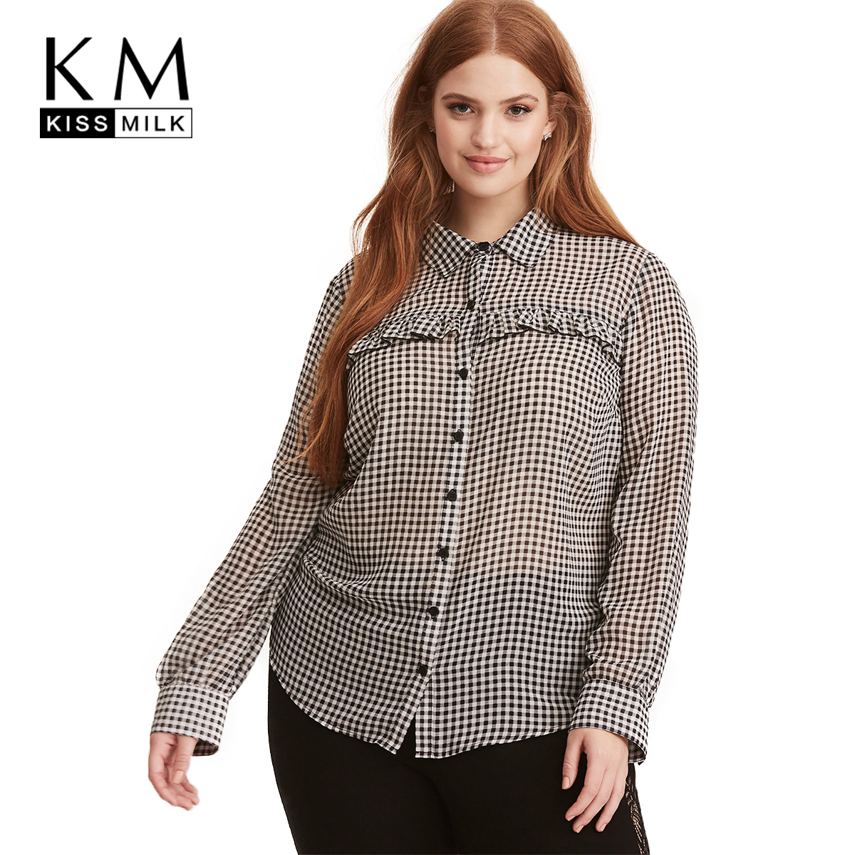 Buy kissmilk 2018 plus size plaid women for Women s plus size plaid shirts